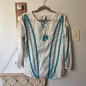 Sundance Embroidered Tassel Tie Peasant Top